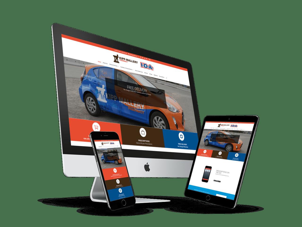 Responsive website designed for Kipp-Mallery Pharmacy in Kamloops, BC