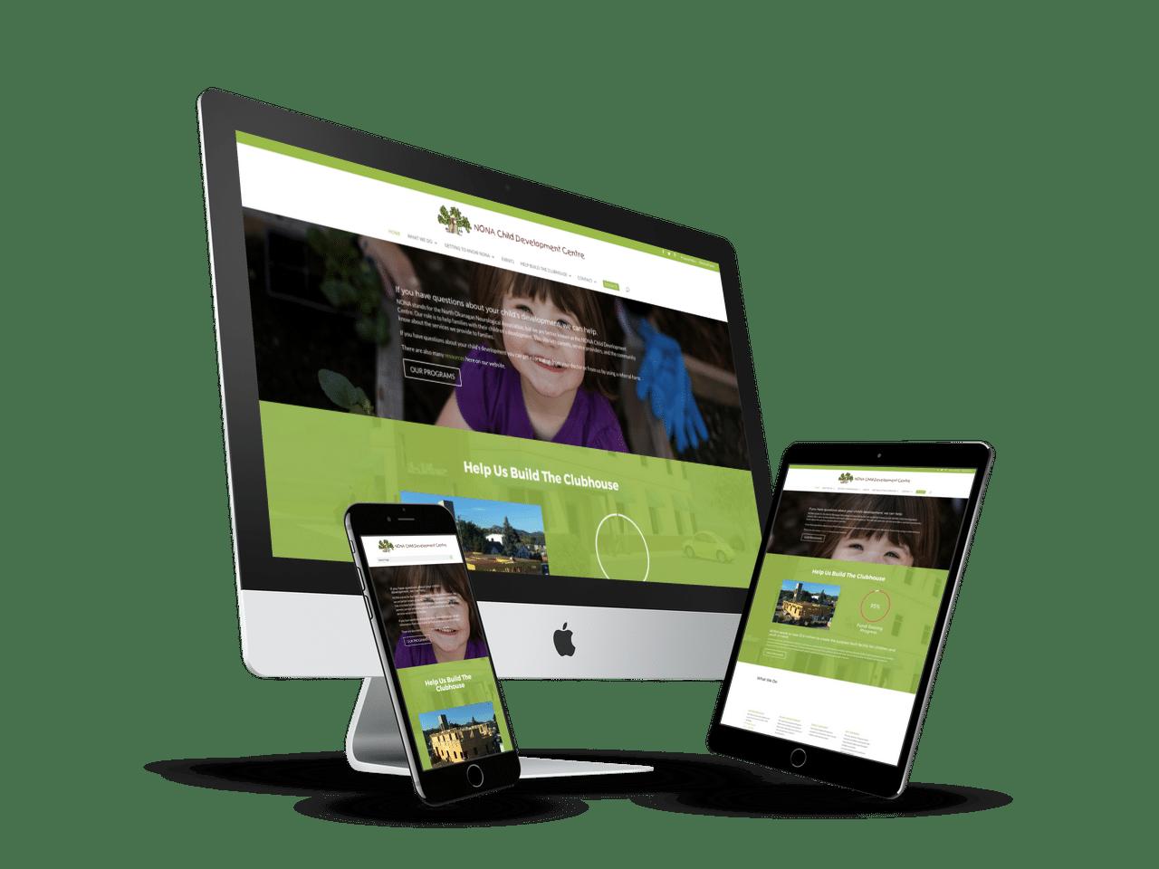 Responsive website designed for NONA-CDC in North Okanagan, BC