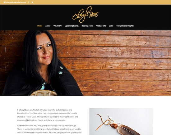 Responsive website designed for Cheryl Bear in Vancouver Island, BC