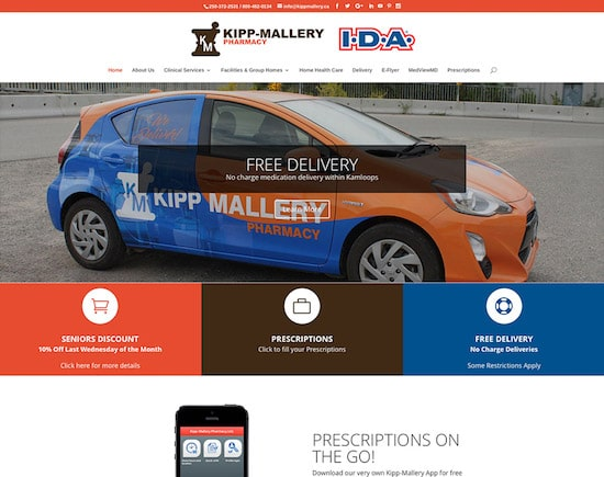 Responsive website designed for Kipp-Mallery Pharmacy in Kamloops, BC