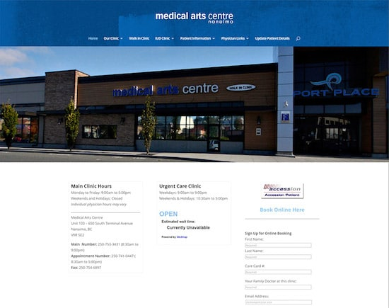 Responsive website designed for Medical Arts Centre in Nanaimo, BC