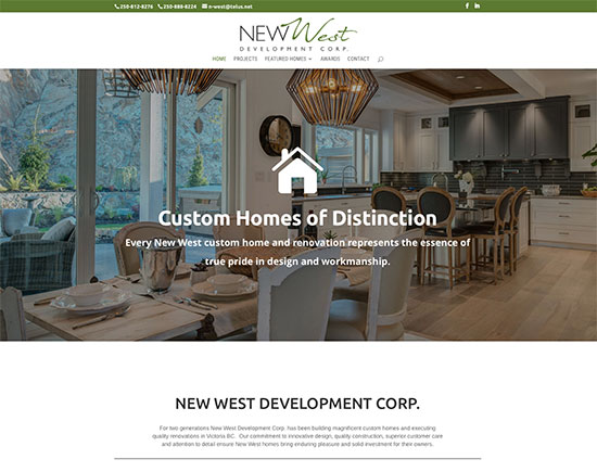 Responsive website designed for New West Development in Victoria, BC
