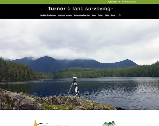 Responsive website designed for Turner Land Surveying in Nanaimo, BC
