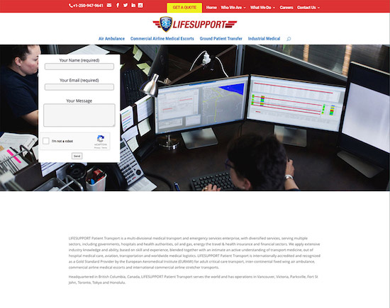 Responsive website designed for LifeSupport Transport in Parksville, BC