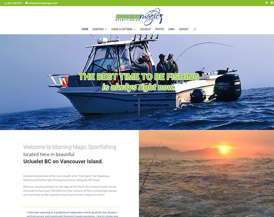 Responsive website designed for Morning Magic Fishing Charters in Ucluelet, BC