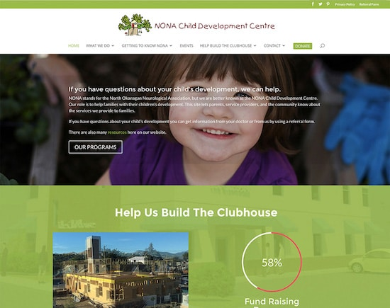 Responsive website designed for NONA-CDC in North Okanagan, BC